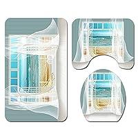 ウィンドウビーチプリントバスルームカーテンセット、滑り止めの敷物の敷物の蓋の蓋のカバーマットカバーペット、家の浴室の装飾 3-piece set