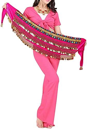 Cintura Egitcio fatta a mano con catena per danza del ventre, cappotto per il fianco, sciarpa, gonna, foulard con 248 monete, paillettes e perline di metallo da donna Rosa Taglia unica