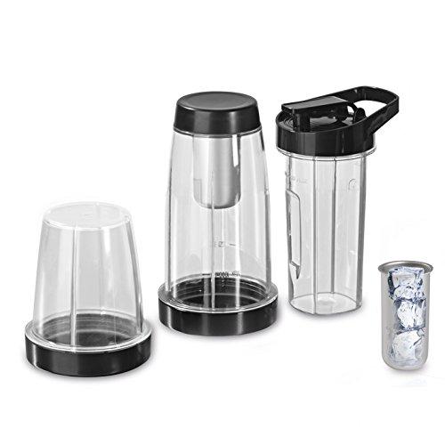 GOURMETmaxx 00620 Becher Set 7-Teilig inklusiv 600 ml To-go-Becher für Nutrition Mixer mit Heizfunktion, 2.1 L, transparent