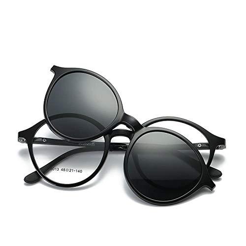 FRGTHYJ Männer Frauen Vintage Dicker runder Rand Rahmen Brille Magnetclip auf Brille TR90 Optische Brillenrahmen Brille A.