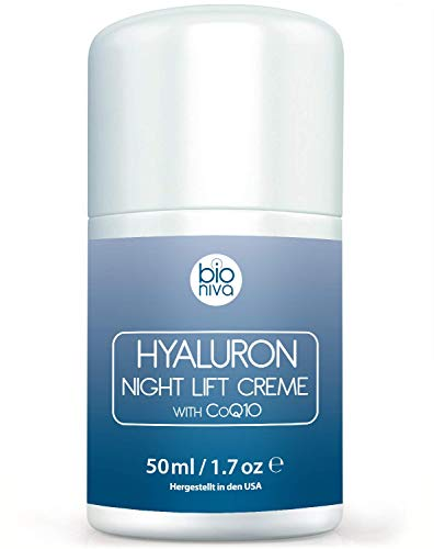 Hyaluron Face Lift Night Cream - Anti Aging Facial Night Care Wrinkle Cream featuring vegan and natural ingredients including Peptides, Hyaluronic Acid, CoQ10, AHA, Glycolic Acid & Aloe 50ml