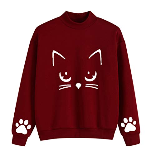 TAMALLU Sweater Mantel Damen Modische Katzen Druck Sweatshirt Pullover Outwear(Weinrot,XL)