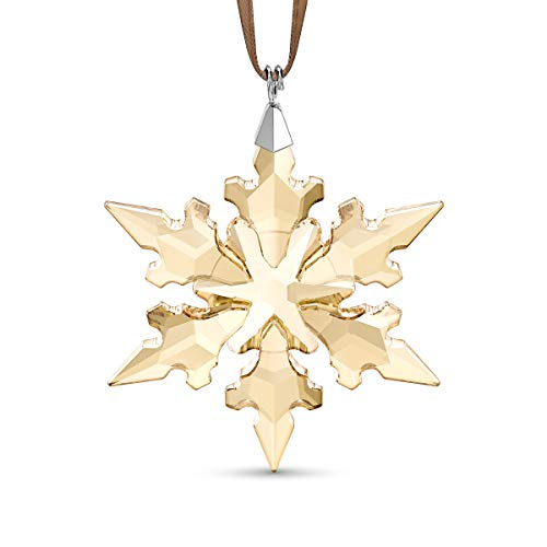 Swarovski Festive Crystal Snowflake Ornament with Gold-Tone Hues on a Stunning Gold Coloured Soft Satin Ribbon