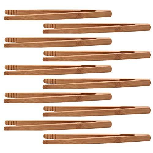 Yardwe 10pcs Holzzange Toastzange Küchenzange Grillzange Holz Bambus Zange Bambus Küche Zange Servierzange Zangen Mehrzweckzange bambuszangen für Toast, Sushi,Bagel Kuchen Speck Muffin