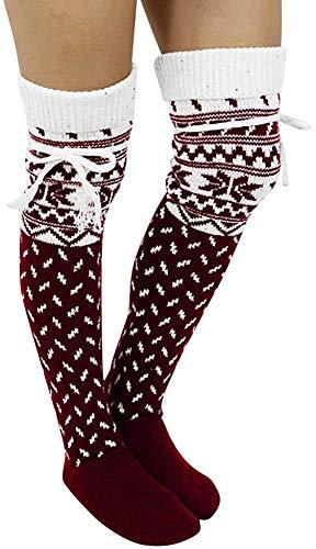 miwaimao Frauen Weihnachten Drucke Winter Warmer Schnee Schenkel Hohe Lange Strümpfe Stricken über Knie Weihnachten Socken mit Bügel,Wein,1 Paar