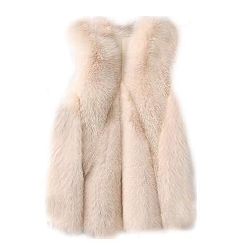 Huaishu Womens Mouwloos Jas Slim Faux Bont Vest Dames Warm Parkas Jassen