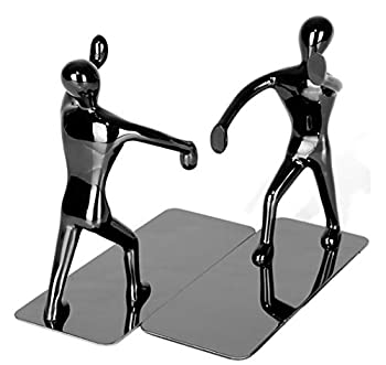 Fasmov Heavy Duty Stainless Steel Man Bookends Nonskid Bookends Art Bookend Black