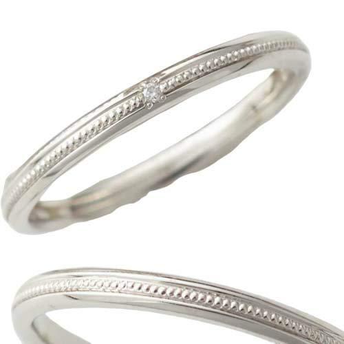 [京都ジュエリー工房] 結婚指輪 マリッジリング Pt900 (純プラチナ 90%) プラチナリング ダイヤ 入り 2本 ペアリング 「結・YUI」 ODA-4MML メンズ8号・レディース8号