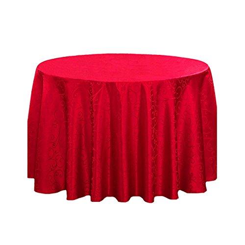 LSHEL Nappe Ronde en Polyester Anti-lâche - Imprimé Nappe de Crochet de Table 140 * 140cm Rouge
