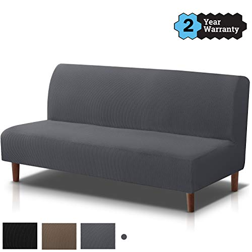 TOPOWN Funda de sofá sin reposabrazos, 150 – 180 cm, gris, Spandex funda de sofá sin reposabrazos elástica antideslizante de tela suave negra sin reposabrazos