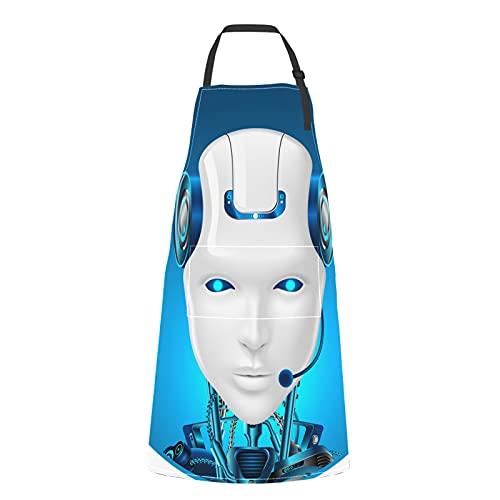 Delantal Tecnológico Robot Cocineros Lazo Ajustable Robot Tecnológico con Bolsillos para Adulto