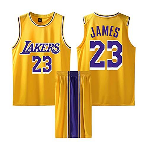 Hombres Adultos Baloncesto Jersey-Lebron James 23# Elementary School Ropa Deportiva Tops Shorts Fitness Wear Camiseta de Los Angeles Lakers 2 Piezas Set Unisex Youth-Yellow-XXXXXL