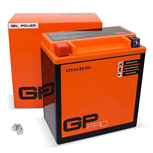 GP-PRO GTX16-BS 12V 14Ah GEL-Batterie (Kompatibel mit YTX16-BS / 81600) (Wartungsfrei & Versiegelt) Akkumulator Motorrad Motorradbatterie