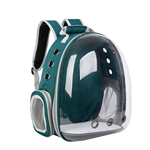 AleXanDer1 Haustierrucksack Katze Tragetasche Breathable Transparent Welpen-Katze-Haustier-Rucksack Katzenklo Käfig Pet Travel Bag Handtasche (Color : Malachite Green)