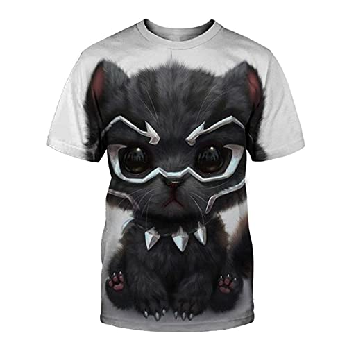 XDJSD Camiseta para Hombre Camiseta Corta De Manga Corta Camiseta De Gran Tamaño Camiseta con Cuello Redondo Camiseta para Hombre Camiseta con Estampado De Gato Camiseta De Manga Corta Top
