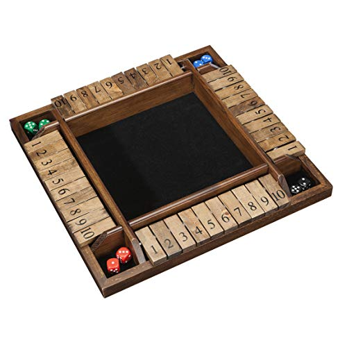 WE Games Wooden 4-Player Shut The Box Game - Great for The Classroom, Home Or Pub – 14 in.
