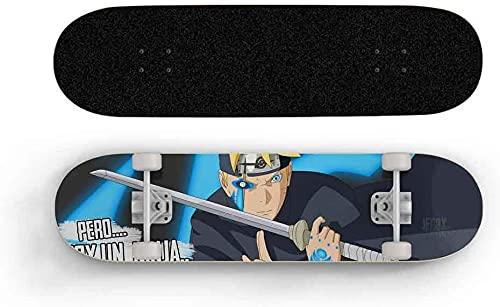 Nixi888 Anime Skateboard Naruto Uzumaki Boruto Hitomi Adolescente Estándar Skateboard Niño Cuatro Rueda Deck Principiante Doble Tilt Skateboard Anime Skateboard