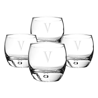 Cathy's Concepts Personalized Heavy Based Whiskey Glasses, Set of 4, Letter V