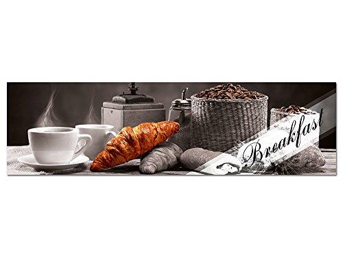 GRAZDesign Acrylglasbilder Küche Wandbild Breakfast Frühstück Kaffee Croissant, für Esszimmer Bar, Küchenbilder als Dekoration, Glasbild aus Acryl / 180x50cm