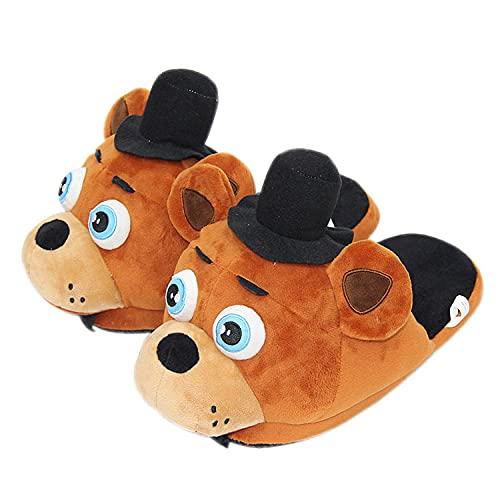 Y-PLAND Pantofole in Cotone Peluche Anime, Harem di Mezzanotte dell'orso Creativo, Orso con Cappello Nero, Scarpe in Cotone da Pavimento in Volpe Rossa-B_35-42One_Size