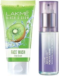 Lakme Blush and Glow Kiwi Freshness Gel Face Wash with Kiwi Extracts, 100 g & Lakmé Absolute Pore Fix Toner, 60ml