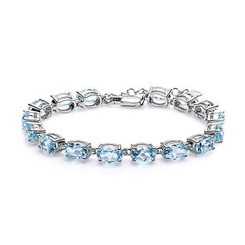 SL Edelsteine 925 Sterling Silber Edelstein Armband 22.11Ct Natürlichen Ovalen Sky Blue Topas Armbänder Armreifen Für Frauen Schmuck