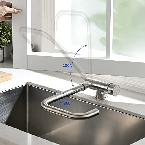CECIPA Robinet de Cuisine Rabattable avec 2 Jets Modes, Mitigeur Cuisine en Acier Inox 304 Pliable à 180° et Rotatif à 360° Sous Fenêtre Froid & Chaud Disponible
