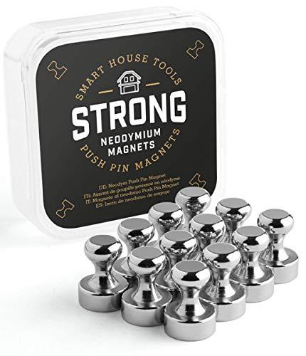 SMART HOUSE TOOLS Magnete Ø 12x16 mm (12 Stück), Neodym Kegelmagnete, rund, einfach greifbar, extra stark - Push-Pin Magnet für Kühlschrank, Magnettafel, etc.