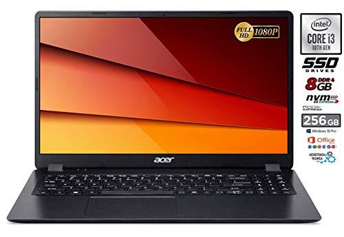 Portátil Acer Intel Core i3 de 10 Gen. Hasta 3,4 GHz, RAM de 8 Gb, SD M.2 Pci Nvme de 256 Gb, Office 2019, pantalla de 15,6 pulgadas Full HD LED, Bt, Hdmi, Win10 Pro, listo para usar, Italia