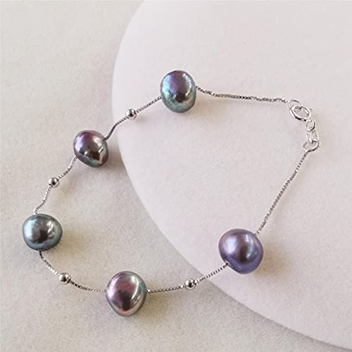 DALIU Pulsera de Perlas de Agua Dulce Natural Plata de Ley 925 Pulseras de Perlas barrocas Negras/Blancas/Rosadas/púrpuras para Mujeres