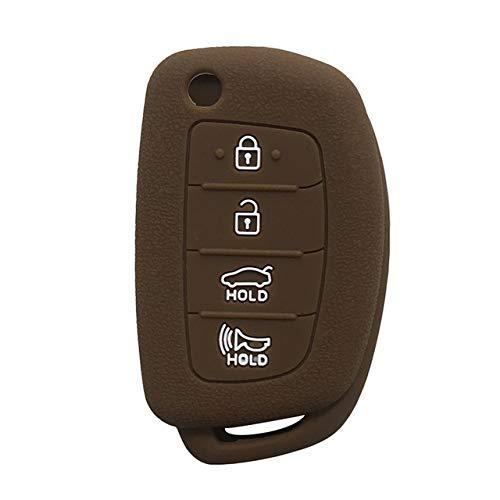 Cubierta de la Llave del Coche Cubierta de silicona clave for Hyundai Sonata 2017 2018 2019 caja dominante de accesorios de coches 4 Soporte for botones clave de protección de la piel Fob Llavero