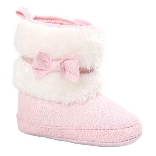 LONUPAZZ Chaussures Premiers Pas Bébé Fille Casual Bottes De Neige Chaussures Chaudes Enfant (0-2 Ans) (13 (12~18M), Rose)