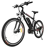 ANCHEER 2019 Upgraded Electric Mountain Bike, 250/500W 26'' Electric Bicycle with Removable 36V 8AH/12 Ah Lithium-Ion Battery for Adults, 21 Speed Shifter (Black_Upgraded)