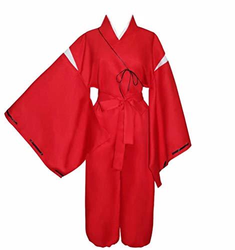 Disfraz de Kimono Inuyasha para hombre (sin collar) rojo L 167/173 cm (cintura (100 cm)