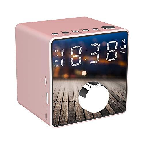 Led Digital Wecker, Bluetooth Lautsprecher Radiowecker mit FM Radio, Dual-Alarm,Lautsprecher,Aux/TF, USB-Ladeanschluss Unterstützung Aufnahme,für iOS/Android Telefon und Tablets(Rosa)