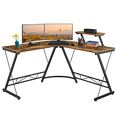 YAHEETECH 51.2 Inch Corner Computer Desk with Monitor Stand, L Shaped Desk with Printer/Shelf, Home Office Gaming Desk with Hutch, Industrial PC Gaming Desk Computer Workstation, Rustic Brown