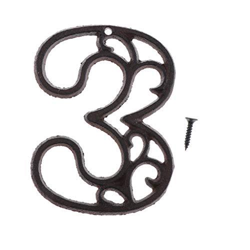 joyMerit Schmiedeeisen Antike Haustür Nummer Zeichen Plaque DIY Digit Number - Nummer 3