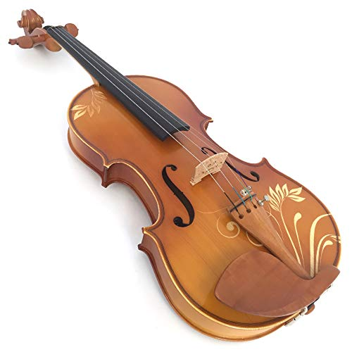 XTQDM Geige 4/4 Full Size Carved Massivholz Violine Kit Ebenholz Armaturen Schulterstütze Fall Bogen Kolophonium Brückensaiten, DH004, China