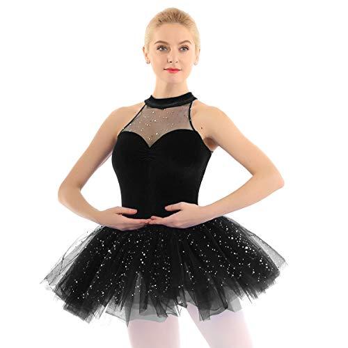 Freebily Tutú Vestido Ballet Mujer con Lentejuelas Maillots de Danza Gimnasia Rítmica Baillet Patinaje Actuación Leotardo Básico Elástico de Terciopelo Talla Grande Negro Medium