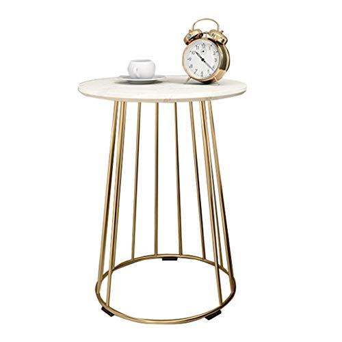 YTENG SHOP ronde salontafel | zijtafel | bijzettafel | sofa side | balkon decoratie | marmer natuur | tafel en metaal goud