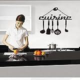 Pegatina herramientas de cocina vinilo tallado pegatina de pared arte Mural cartel de cocina moda decoración del hogar pegatina de fondo A1 55x59cm
