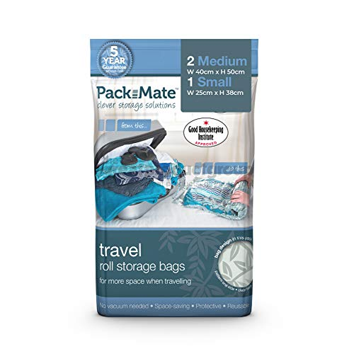 """Packmate - 3pc Assorted (1L + 2M) Travel """"roll by hand"""" Vacuum Bag - Premium quality market-leading brand, reusable, spacesaver luggage bags"""