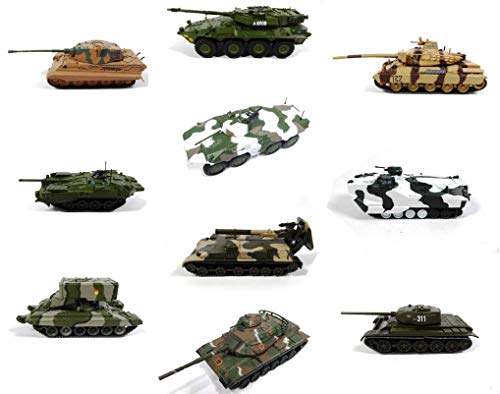 - Lote de 10 vehículos Militares 1/72 T-44 + M60A3 + AMX + Strv + Spähpanzer + 2S4 Tyulpan - Tanques de la Segunda Guerra Mundial (LEM08)