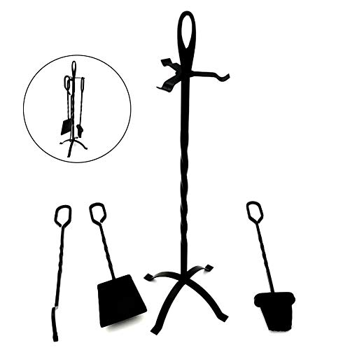 Fireplace Tools Set 4 Pieces, Wrought Iron Fireset Fire Pit Poker Wood Stove Log Tongs Holder Fireplace Tool Set with Pedestal Place