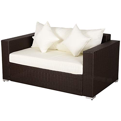 Outsunny Outdoor PE All-Weather Rattan Loveseat Couch with 2 Throw Pillows & Comfortable Cushions in an Elegant Style