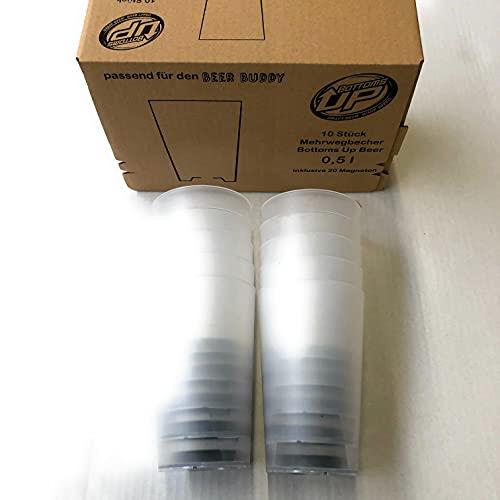 Beer Buddy Mehrwegbecher 10 Stück, 16 Magneten mit 0,4 L & 0,5 L Markierung - Für die BEER Buddy Zapfanlage
