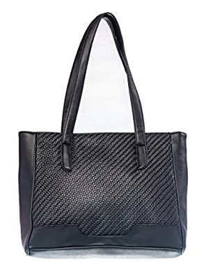 Khadim's Black Synthetic Texture Casual Tote Bag for Women - UK OS