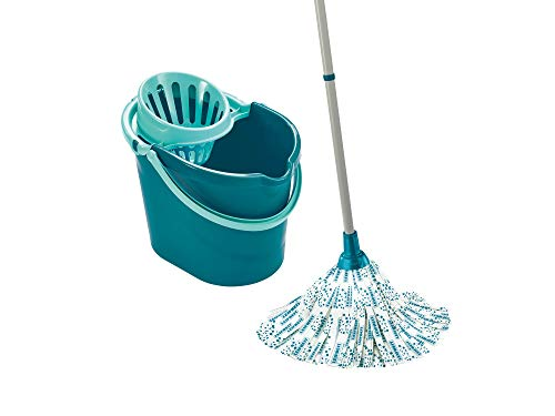 Leifheit Set Classic Mop, seau essoreur avec lave-sol, balai à franges en viscose très absorbantes, support essoreur pratique pour essorage facile