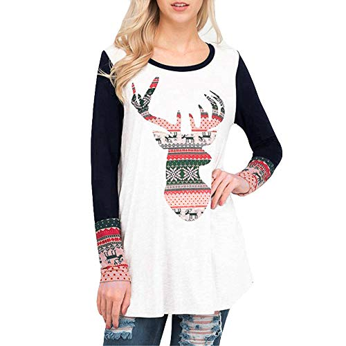 Franterd Merry Christmas Tops Women Xmas Pullover Christmas Elk Long Sleeve Blouse T-Shirt