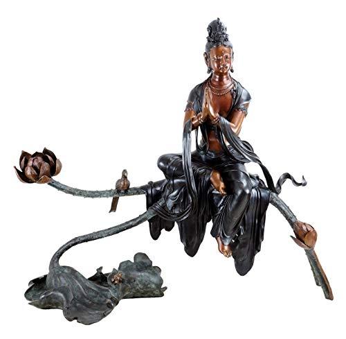 Kunst & Ambiente-Blancas Tara-XXL Bronce Estatua-Grandes Yoga Zen Escultura-Firmado Milo-Budismo-Altura: 97-Ancho: 116
